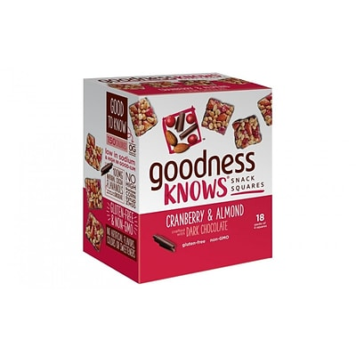 goodnessKNOWS Cranberry, Almond & Dark Chocolate Gluten Free Snack Square Bars 18 Count (225-00047)