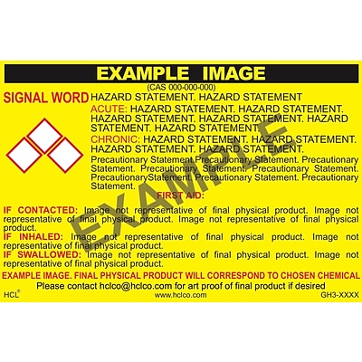 HCL Distilled Water GHS Chemical Label, 4 x 7, Adhesive Vinyl, Yellow/Black, 25 Pack (GH316450047)