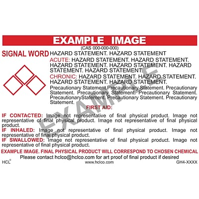 HCL Deionized Water (Green/White) GHS Chemical Label, 3 x 5, Adhesive Vinyl, White/Red, 25 Pack (GH4XX290035)
