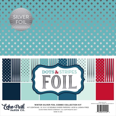 Echo Park Paper Winter Dot/Stripe Combo W/Silver Foil Double-Sided Collection Pack, 12 x 12, 24/Pkg (DSF17077)