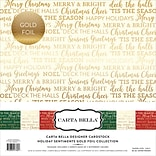 Echo Park Paper Holiday Sentiments W/Gold Foil, 3 Des/2e Carta Bella Collection Kit, 12 x 12, 6/Pk