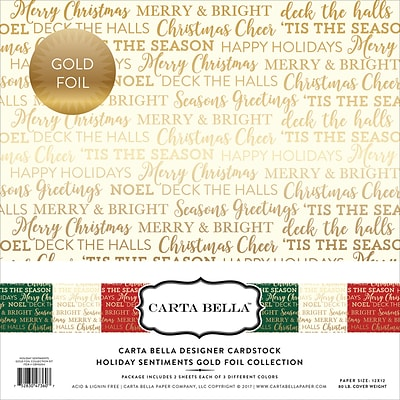 Echo Park Paper Holiday Sentiments W/Gold Foil, 3 Des/2e Carta Bella Collection Kit, 12 x 12, 6/Pkg (CBFHS004)