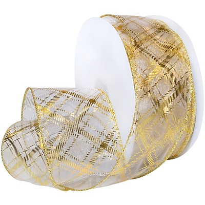 Morex Corp Gold/White Sheer Plaid Wired Ribbon, 2.5 x 50 yd (7425-634)