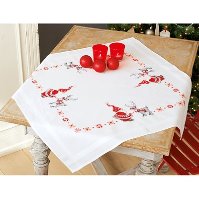 Vervaco 32 x 32 Christmas Elves Tablecloth Stamped Cross Stitch Kit (V0150474)