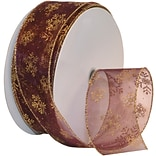 Morex Corp Burgundy/Gold Snowflake Wired Ribbon, 2.5 x 50 yd (7405-619)