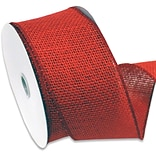 Morex Corp Red Burlap Wired Ribbin, 2.5 x 10 yd (125260-194)