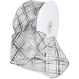 Morex Corp Silver/White Sheer Plaid Wired Ribbon, 2.5 x 50 yd (7425-631)