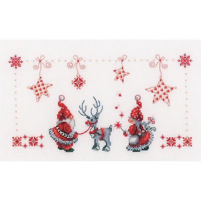 Vervaco 11 x 6.75 14 Count Christmas Elves On Aida Counted Cross Stitch Kit (V0154476)