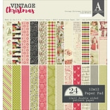 Authentique Paper Vintage Christmas, 12 Designs/2 Each Double-Sided Cardstock Pad, 12 x 12, 24/Pkg