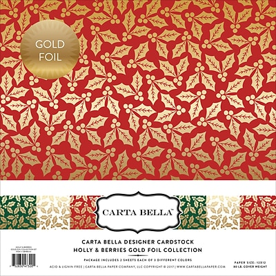 Echo Park Paper Holly & Berries W/Gold Foil, 3 Des/2 Ea Carta Bella Collection Kit, 12 x 12, 6/Pkg (CBFHB004)