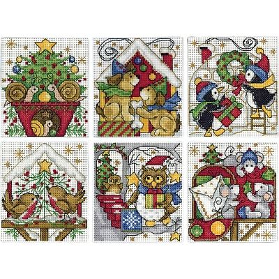 Tobin Set Of 6 Home For Christmas Ornaments Counted Cross Stitch Kit, 3.5 x 4, 14 Count  (DW1697)