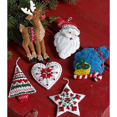 Bucilla Set Of 6 Nordic Santa Ornaments Felt Applique Kit,  3.5 x 4.5 (86666)