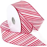 Morex Corp Red/White Peppermint Wired Ribbon, 2.5 x 50 yd (741060)