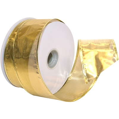 Morex Corp Gold Gleam Wired Ribbon, 2.5 x 50 yd (7417-634)