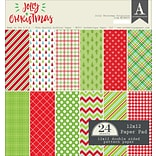 Authentique Paper Jolly Christmas Double-Sided Cardstock Pad, 12 x 12, 24/Pkg (JCM009)