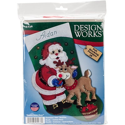 Tobin 18 Long Santa & Deer Stocking Felt Applique Kit (DW5238)