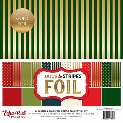 Echo Park Paper Christmas Dot/Stripe Combo W/Gold Foil Double-Sided Collection Pack, 12 x 12, 24/Pkg (DSF17057)