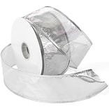 Morex Corp Silver Gleam Wired Ribbon, 2.5 x 50 yd (7417-631)