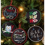 Bucilla 4 Round Set Of 12 Holly Jolly Ornaments Counted Cross Stitch Kit, 14 Count (86673)