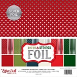 Echo Park Paper Christmas Dot/Stripe Combo W/Silver Foil Double-Sided Collection Pack, 12 x 12, 24