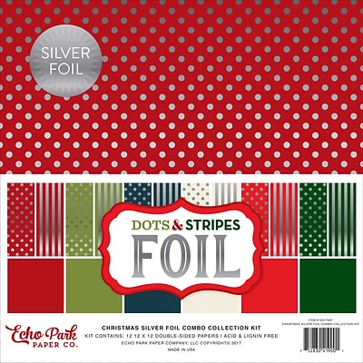 Echo Park Paper Christmas Dot/Stripe Combo W/Silver Foil Double-Sided Collection Pack, 12 x 12, 24/Pkg (DSF17067)