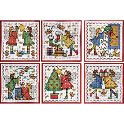 Tobin, 4 x 4 14 Count Set Of 6 Decorating Angels Ornaments Counted Cross Stitch Kit (DW1699)