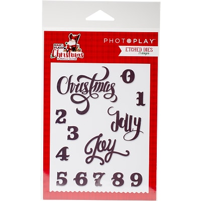 Photo Play Paper Mad 4 Plaid Christmas Words Etched Dies (MPC2881)