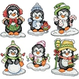 Tobin 3.5 14 Count Set Of 6 Penguins On Ice Ornaments Counted Cross Stitch Kit (DW2286)