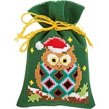 Vervaco Set Of 3 Christmas Owls Bags On Aida Counted Cross Stitch Kit, 3.25 x 4.75, 18 Count (V015