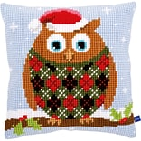Vervaco 16 x 16 Christmas Owl Cushion Cross Stitch Kit (V0154717)