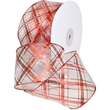 Morex Corp Red/White Sheer Plaid Wired Ribbon, 2.5 x 50 yd (7425-609)