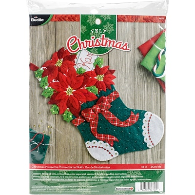 Bucilla 18 Long Christmas Poinsettia Stocking Felt Applique Kit (86705)