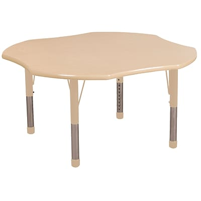 ECR4Kids T-Mold Adjustable 48 Clover Laminate Activity Table Maple/Maple/Sand (ELR-14101-MMSD-C)