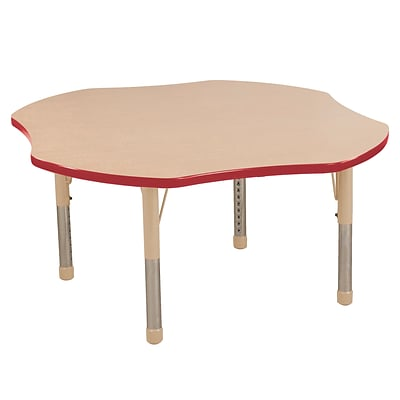 ECR4Kids T-Mold Adjustable 48 Clover Laminate Activity Table Maple/Red/Sand (ELR-14101-MRDSD-C)