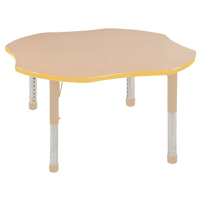 ECR4Kids T-Mold Adjustable 48 Clover Laminate Activity Table Maple/Yellow/Sand (ELR-14101-MYESD-C)