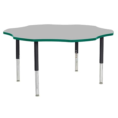 ECR4Kids T-Mold Adjustable Leg 60 Flower Laminate Activity Table Grey/Green/Black (ELR-14102-GGNBK-SL)
