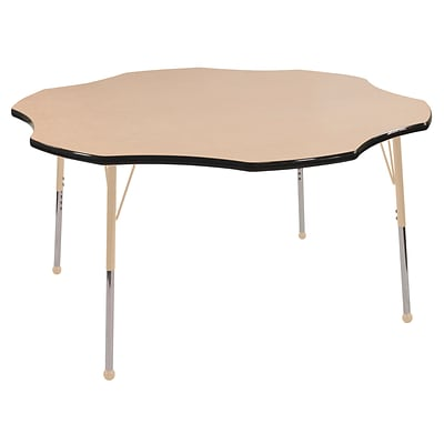 ECR4Kids T-Mold Adjustable 60 Flower Laminate Activity Table Maple/Black/Sand (ELR-14102-MBKSD-TB)