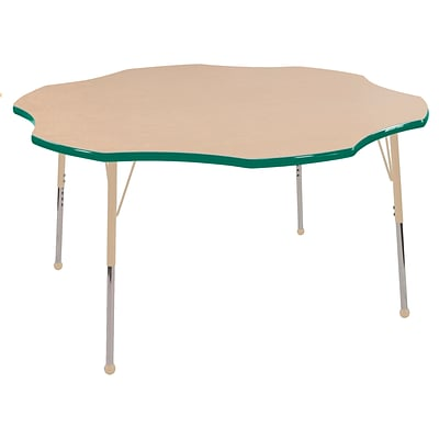 ECR4Kids T-Mold Adjustable 60 Flower Laminate Activity Table Maple/Green/Sand (ELR-14102-MGNSD-TB)