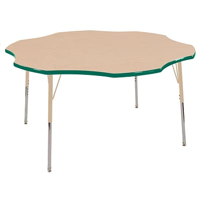 ECR4Kids T-Mold Adjustable 60 Flower Laminate Activity Table Maple/Green/Sand (ELR-14102-MGNSD-SS)
