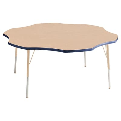 ECR4Kids T-Mold Adjustable 60 Flower Laminate Activity Table Maple/Navy/Sand (ELR-14102-MNVSD-SS)