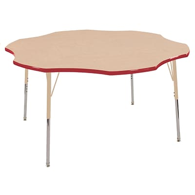 ECR4Kids T-Mold Adjustable 60 Flower Laminate Activity Table Maple/Red/Sand (ELR-14102-MRDSD-SS)