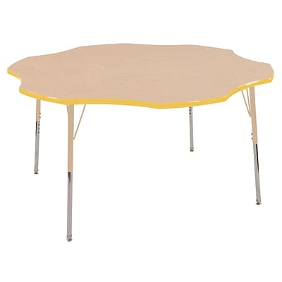 ECR4Kids T-Mold Adjustable 60 Flower Laminate Activity Table Maple/Yellow/Sand (ELR-14102-MYESD-SS)