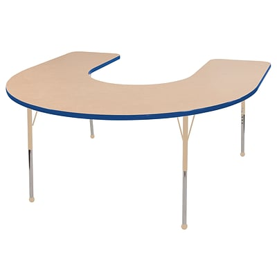 ECR4Kids Thermo-Fused Adjustable 66L x 60W Horseshoe Laminate Activity Table Maple/Blue/Sand (ELR-14203-MPBLSDTB)