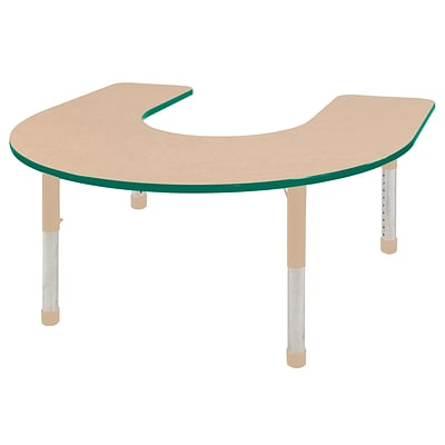 ECR4Kids Thermo-Fused Adjustable 66L x 60W Horseshoe Laminate Activity Table Maple/Green/Sand (ELR-14203-MPGNSDCH)