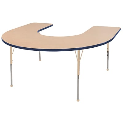 ECR4Kids Thermo-Fused Adjustable 66L x 60W Horseshoe Laminate Activity Table Maple/Navy/Sand (ELR-14203-MPNVSDTS)