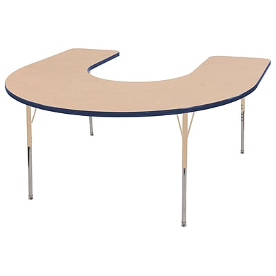 ECR4Kids Thermo-Fused Adjustable 66L x 60W Horseshoe Laminate Activity Table Maple/Navy/Sand (ELR-14203-MPNVSDSS)