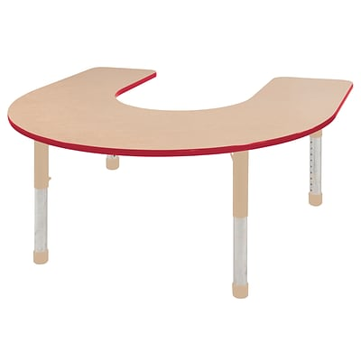 ECR4Kids T-Mold Adjustable 66L x 60W Horseshoe Laminate Activity Table Maple/Red/Sand (ELR-14103-MRDSD-C)