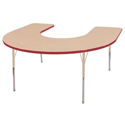 ECR4Kids Thermo-Fused Adjustable 66L x 60W Horseshoe Laminate Activity Table Maple/Red/Sand (ELR-14203-MPRDSDSS)