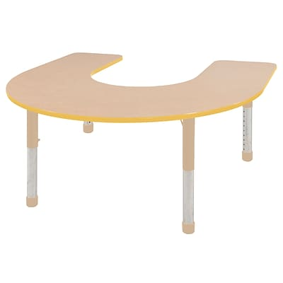 ECR4Kids Thermo-Fused Adjustable 66L x 60W Horseshoe Laminate Activity Table Maple/Yellow/Sand (ELR-14203-MPYESDCH)