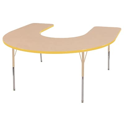 ECR4Kids Thermo-Fused Adjustable 66L x 60W Horseshoe Laminate Activity Table Maple/Yellow/Sand (ELR-14203-MPYESDSS)
